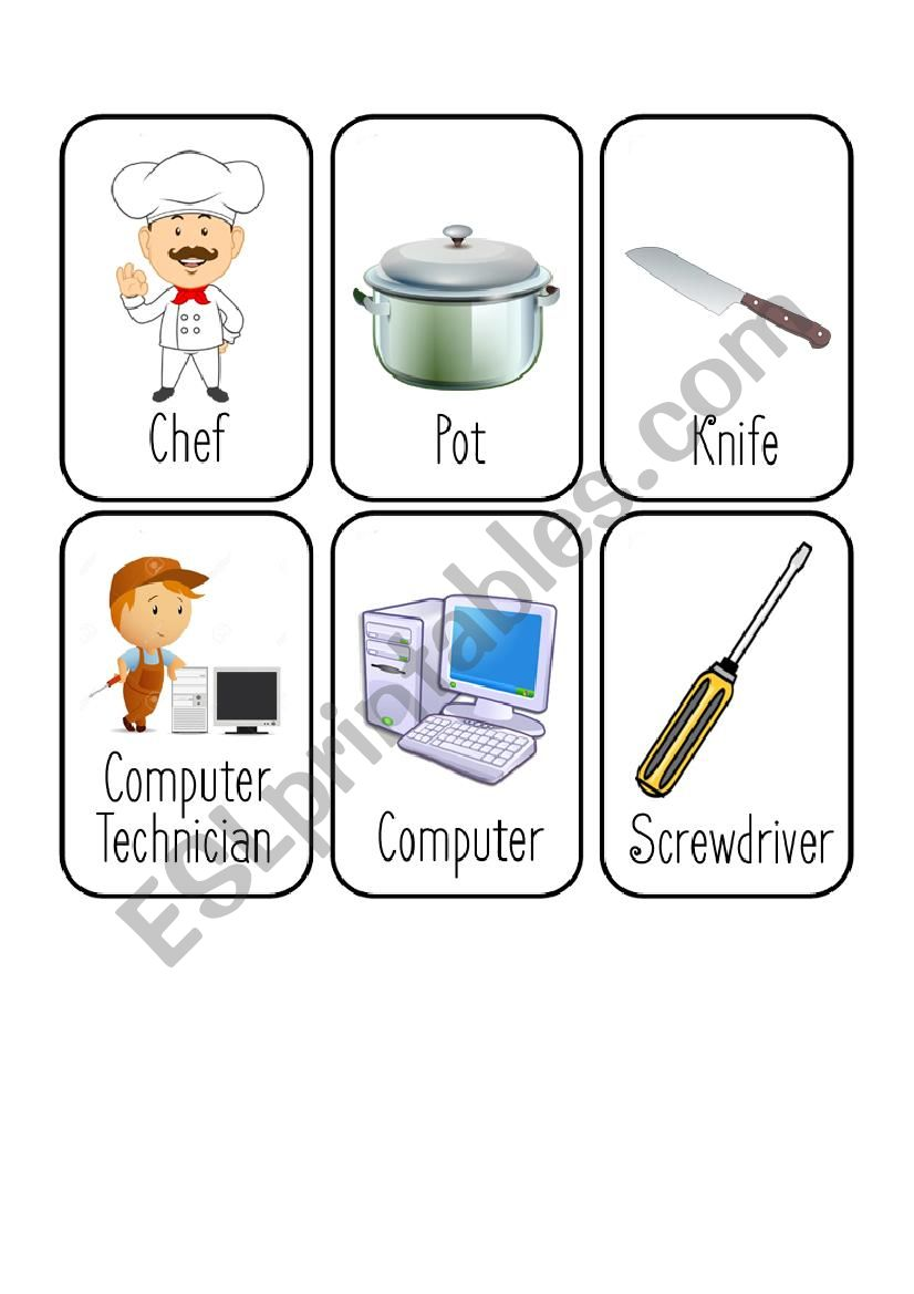 Jobs Card Game [2/8] [Chef - Computer Technician - Dentist - Doctor]
